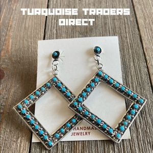 Zuni Turquoise Sterling Silver Petit Point Dangles
